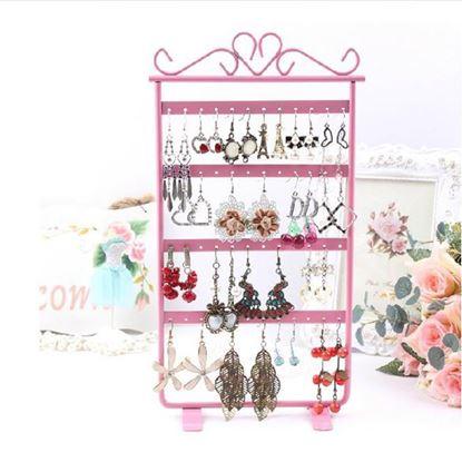 Obrázek Stojan na šperky a náušnice kovový - růžový
