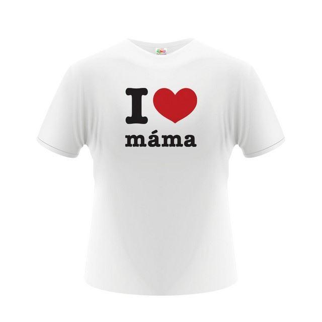 Pánské tričko - I Love Máma - bílé - L