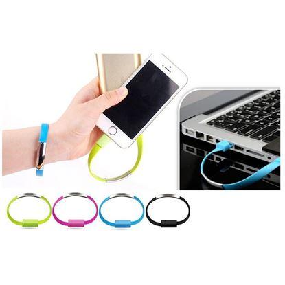 Obrázek USB náramek - nabíjecí a datový kabel micro USB - šedý