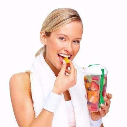 Obrázek Plastový kelímek na salát s vidličkou