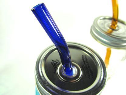 Obrázek Zahnuté skleněné brčko - tmavomodré