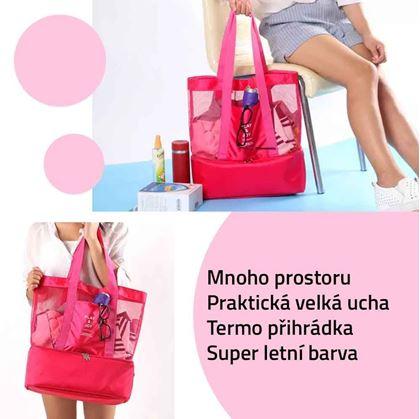 Obrázek z Plážová taška s termo přihrádkou - růžová