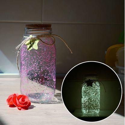 Obrázek Svítící skleněná dóza - růžová/žlutá