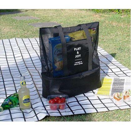 Obrázek z Plážová taška s termo přihrádkou - černá