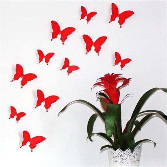 Obrázek z 3D motýlci na zeď - červená