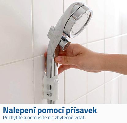 Bílý držák na sprchu s přísavkami