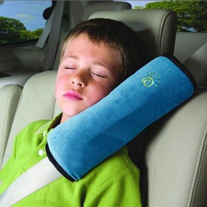 Cestovní polštářek do auta na pás - modrý