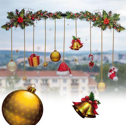 Vánoční samolepky na okno girlanda